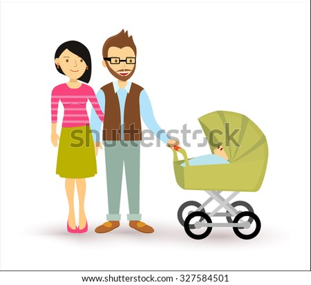 Young couple with newborn baby, start of a family illustration in flat style. EPS10 vector. - stock vector