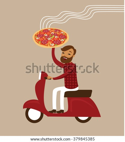 Young courier deliver hot pizza driving scooter - stock vector