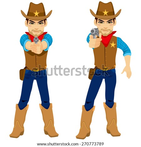 Young cowboy on two poses aiming revolver holding gun with both hands and with only right hand - stock vector