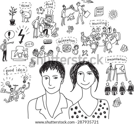 Young creative business couple monochrom Portrait of unrecognizable young creative working couple with objects and icons. Black and white vector illustration. - stock vector
