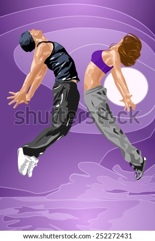 Young dancers couple jumpig. EPS 10 format. - stock vector