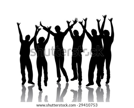 young dancing people - stock vector