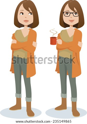 Young dark-haired woman in casual attire, standing with arms crossed, holding a mug of hot coffee. Vector illustration. - stock vector