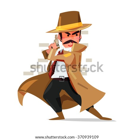 young detective or policeman or mobster standing behind the wall to attack someone. character design - vector illustration - stock vector