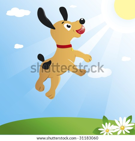 Young dog is jumping high to catch a ball. Bright yellow sun lights up an emerald green meadow and a brilliant blue sky