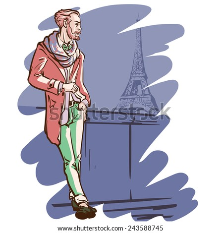 Young elegantly dressed man standing with the Eiffel Tower in the background. EPS8 vector illustration. - stock vector