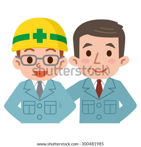 Young employees and boss in work clothes - stock vector