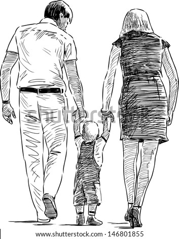 young family - stock vector