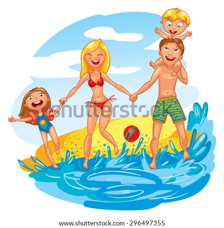 Young family with two kids on vacation. Funny cartoon character. Vector illustration. Isolated on white background - stock vector