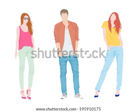 Young fashion boy and two girls - stock vector