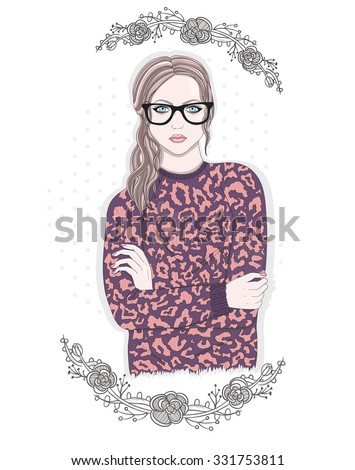 Young fashion girl illustration. Hipster girl with glasses and flowers. - stock vector