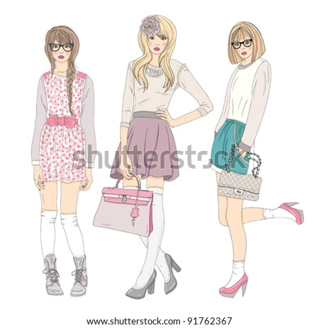 Young fashion girls illustration. Vector illustration. Background with teen females in fashionable clothes posing. Fashion illustration. - stock vector