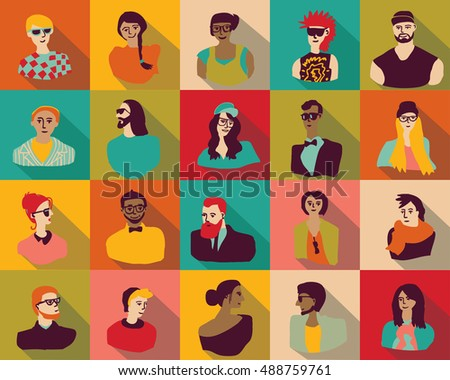 Young fashion people icons portrait flat characters set. Color vector illustration. EPS8