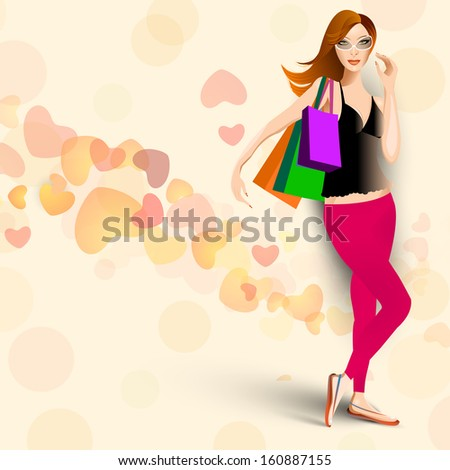 Young fashionable girl with shoping bags on hearts decorated background. - stock vector