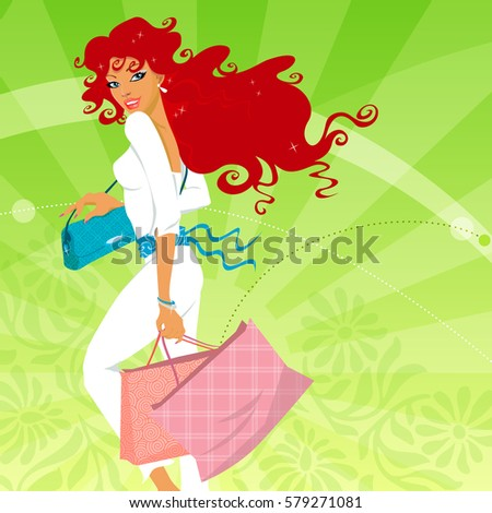Young fashionable woman holding shopping bags. Vector illustration.
