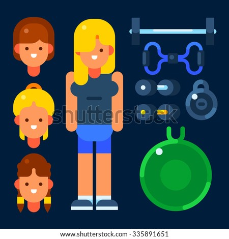 Young female fitness trainer and her stuff. Vector flat illustration. Isolated objects. - stock vector
