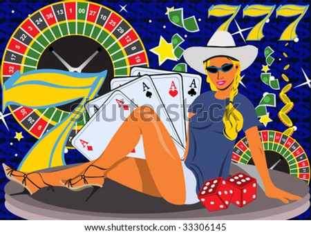 Young female on casino background. - stock vector