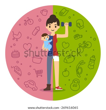 Young fit mom holding a baby boy on the left and in fitness gear with a dumbbell on the right. Background is divided in two theme patterned parts. Cute and simple modern flat cartoon style. - stock vector