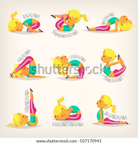 Young Flexible Girl In Different Yoga Poses Names Of Asanas