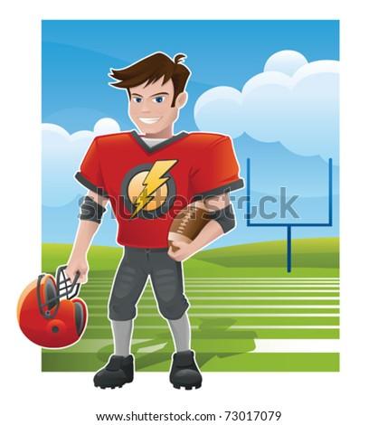 Young Football Star - vector - stock vector
