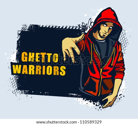 Young gangster. Grungy street art slyled vector illustration. - stock vector