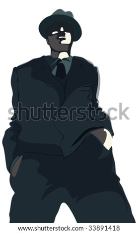 Young gangster in suit and hat. Vector illustration.