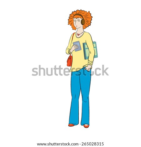 Young ginger student girl with headphones holding books - stock vector