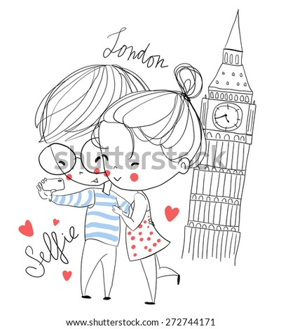 Young girl and boy making self portrait. London. Love card.  - stock vector