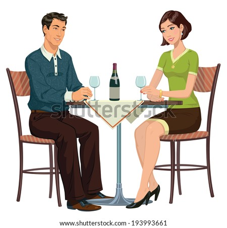 young girl and young man sitting in a cafe and drinking wine - stock vector