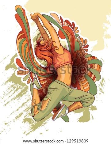 Young girl dancing - stock vector