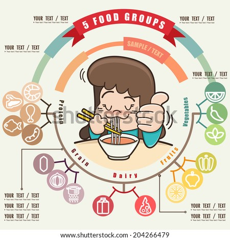 Young girl enjoying eating her noodle and Healthy food info graphic, Food icons set, illustrator vector - stock vector