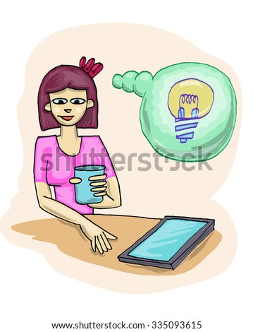 young girl holding cup with tablet and idea sign vector illustration - stock vector