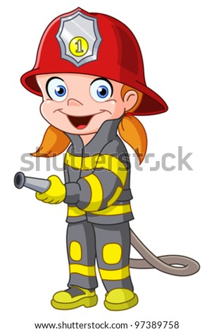 Young girl in a fireman costume - stock vector