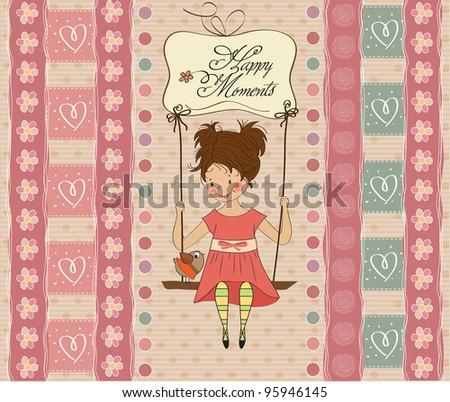 young girl in a swing - stock vector