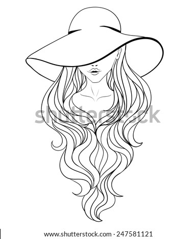 Young girl in a vintage hat with large fields and long hair. Black and white ine art. - stock vector