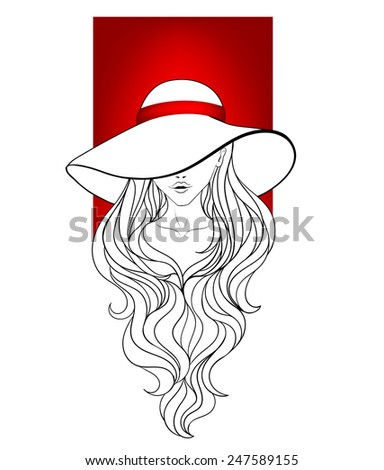 Young girl in a vintage hat with large fields, red ribbon and long hair. Line art. - stock vector