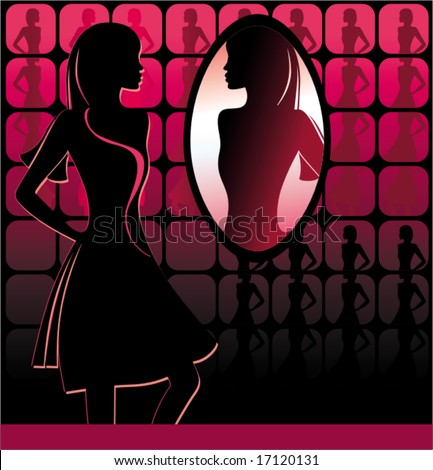 young girl  in front of a big mirror.  To see similar, please VISIT MY GALLERY.
