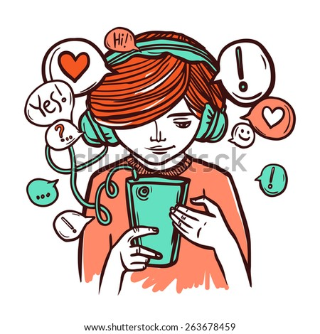 Young girl in headphones chatting with smartphone hand drawn vector illustration - stock vector