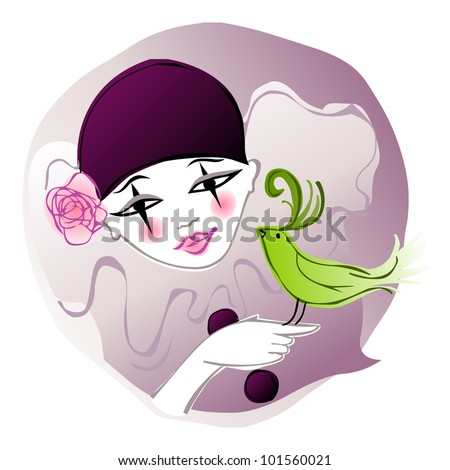 young girl in pierrot clown costume with a pretty green bird - stock vector