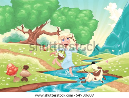 Young girl is running with dog in the nature. Funny cartoon and vector scene, isolated objects. - stock vector