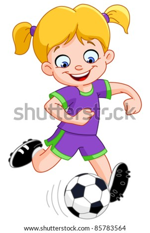 Young girl playing soccer - stock vector