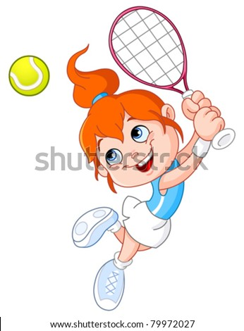 Young girl playing tennis - stock vector