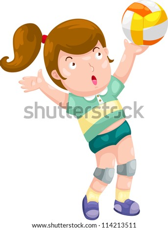 Young Girl playing volleyball illustration vector