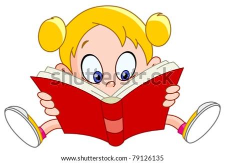 Young girl reading a book - stock vector
