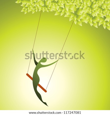 young girl sitting on swing on tree branches