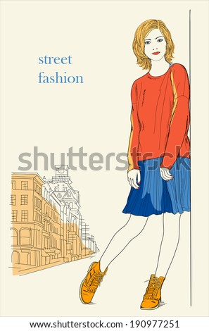Young girl standing on the street (street fashion) - stock vector