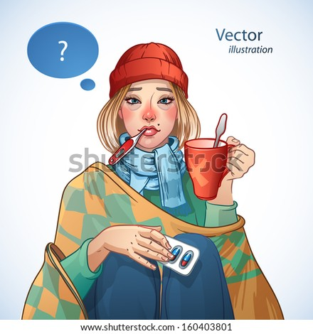 Young girl, suffering from quinsy, or flu or any other virus cold. - stock vector