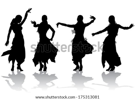 young girl takes the oriental dance on stage  - stock vector