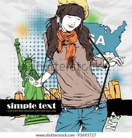 Young girl with beret  in sketch-style on a usa-background. Vector illustration. Place for your text. - stock vector