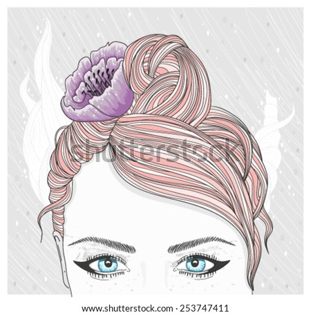 Young girl with flower in her hair. Fashion illustration. - stock vector